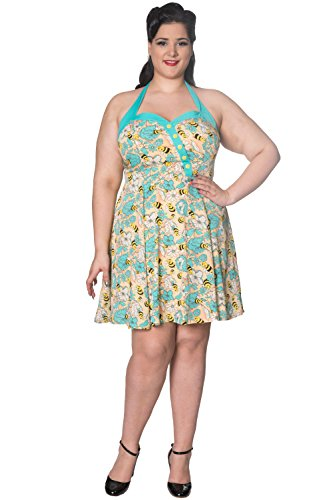 Banned Watching The Skies Halterneck Vintage Retro Plus Size Kleid - UK-20