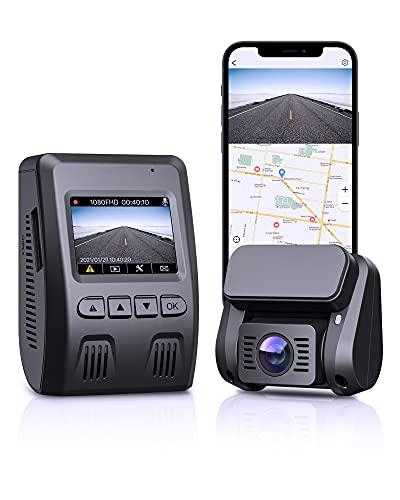 Dash Cam Auto WIFI, Funzione di GPS, Doppia Telecamera per Auto in 1080P HD Schermo, Obiettivo Grandangolare a 6 corsie 170°, Visione Notturna, G-Sensore, Caricatore per Auto a Doppia Porta