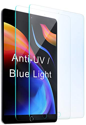 2 Packs Compatible with Apple iPad 8th / 7th Screen Protector (10.2 inch, 2020/2019 Released, 8/7 Generation), Anti Blue Light UV Tempered Glass Protection Film