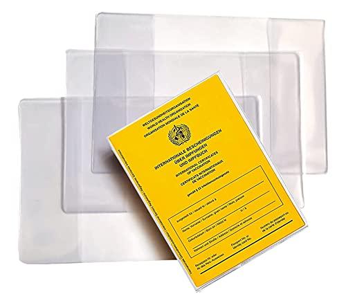 aprom Impfpass Hülle 4er Set 100 mm x 135 mm - 2021 Internationaler Impfausweis Schutzhülle transparent - Reißfeste Impfpasshülle Impfpass-Etui