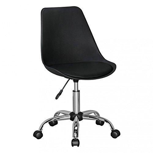 FineBuy HAINAN | Drehstuhl mit Kunstleder-Sitzfläche Schwarz | Design Drehsessel Wartezimmerstuhl ist höhenverstellbar | Schreibtischstuhl mit Rückenlehne | Bürostuhl/Jugendstuhl mit Schalensitz