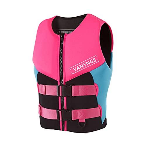magnifier Chaleco salvavidas al aire libre para mujer chaleco auxiliar kayak pesca deportes acuáticos chaleco salvavidas seguridad equipo de natación, rosa, XL
