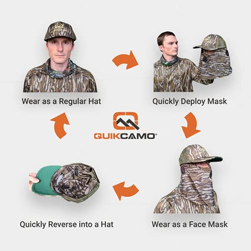 QuikCamo Mossy Oak Shadow Grass Blades Camouflage Cap, Hat, with Built-in Hunting Face Mask for Duck and Goose Hunting   Duck's Unlimited Official Waterfowl Pattern Adjustable Velcro Rear Closure