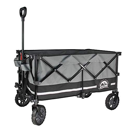 Nature's Journey Heavy Duty Folding Wagon, Collapsible Outdoor Utility Wagon, with Oversized Bed and Ultra-Compact Folding Size, Black/ Grey