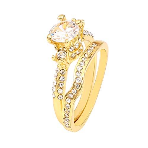 HBWHY Women Ring Jewellery Rhinestone Zirconium Ring Set Retro Finger Ring Anniversary Girls Womens Jewellery Gifts Accessories,Champagne Gold
