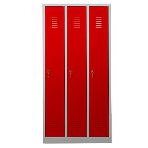 Certeo Garderobenspind | HxBxT 180 x 90 x 50 cm | Zylinderschloss | Grau-Rot | Garderobenspind Umkleidespind Spind Schrank Abschließbar