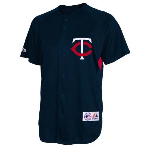 MLB Minnesota Twins Justin Morneau Adult Short-Sleeved Full Button Down Synthetic Replica Batting Practice Jersey, Large