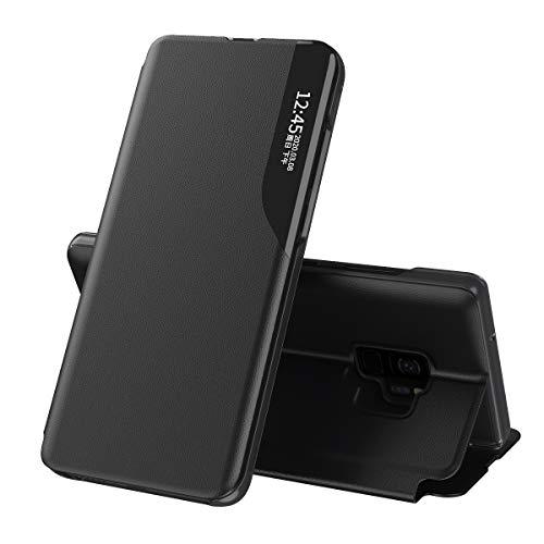 Celular Capa Samsung Galaxy S9 Case Função de Sono Inteligente(Exibidas hora e data) Função de Suporte para flip e Absorção Magnética Case Ultrafina Couro Protetora Cover:Preto