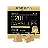 Bestpresso Coffee for Nespresso Original Machine 120 pods Certified Genuine Espresso Flavored Pack Vanilla Pods Compatible with Nespresso Original 60 Days Satisfaction Guarantee