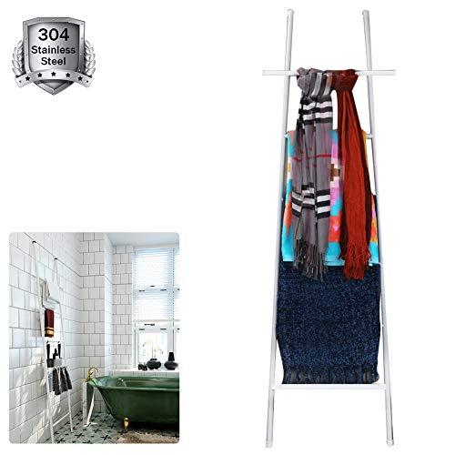 M-TOP Decoratieve Deken Opslag Ladder, Home Leaning Ladder Rack, RVS Deken Ladder Rustiek 5ft met 6 Tier, Handdoek Ladder Rack voor Badkamer, Keuken, Kantoor