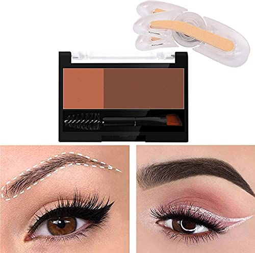 LANDUN Adjustable Eyebrow Stamp Set, Waterproof Eyebrow Powder Stamper Brush Kit, 3D Reusable Three Types Eyebrows Shapes for Instant Perfect Delicate Brow Shape (4#Brick Colour+Red Brown)