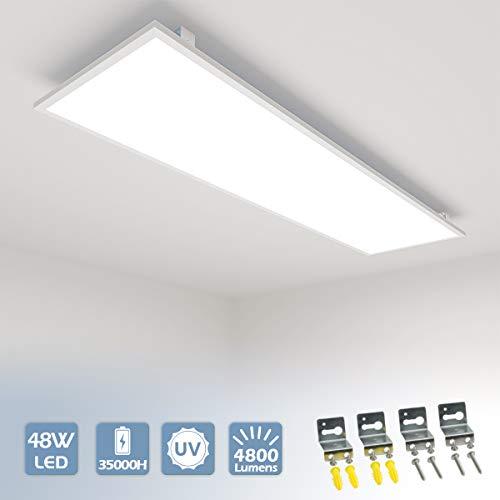 Vkele LED Panel 120x30cm Neutralweiß 4000K 48W 4800 lumen Weißrahmen Led Panel Deckenleuchte, LED-Lampe, Deckenlampe, Büroleuchten mit Winkel-Anbauset für Schlafzimmer, Esszimmer, Wohnzimmer