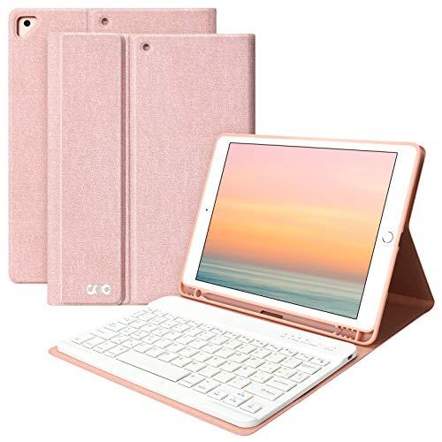 Teclado iPad 10.2 8th 2020 y 7th 2019 Funda, Funda con Teclado para iPad Air 3 10.5 2019/iPad Pro 10.5 2017 con Ranura de Lápiz,Teclado Español Bluetooth Inalámbrico Desmontable (Champán)