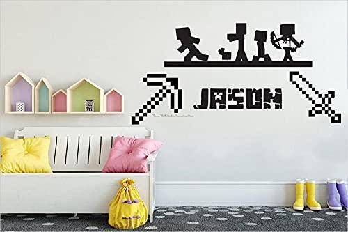 BBZZL Adhesivo de Pared Personalizado con Nombre de Juego de Espada de Mosaico Adecuado para Consola de Videojuegos de computadora Regalo de decoración de habitación de niño L 38x77cm