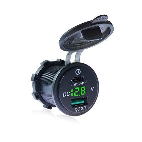 Voltímetro LED verde para 12 V ~ 24 V, para coche, barco, motocicleta, autobús, camión, caravana, azul marino QC 3.0, cargador de coche PD tipo C con voltímetro LED, enchufe USB para QC 3.0 USB
