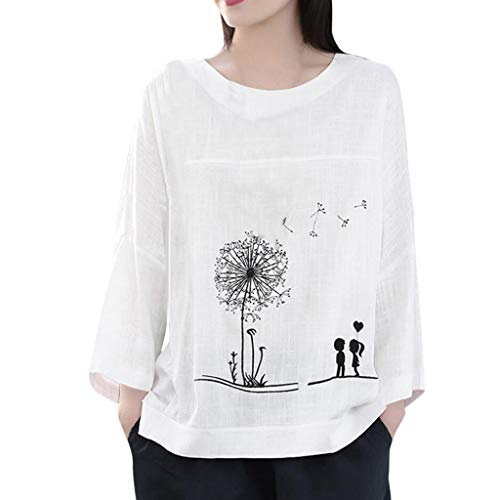 LILIHOT Plus Size Frauen Langarm T-Shirt Baumwolle Leinen O-Neck Print Bluse Lässige Lose Tunika Tops Herbst Leinen Bluse Print Hemdbluse Loose Rundhals Oberteile