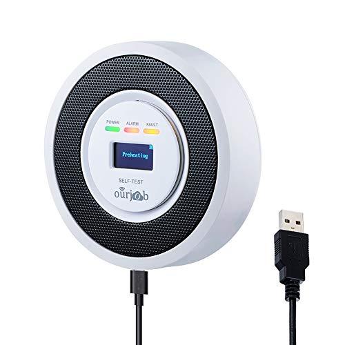 Alarma de Gas, Detector de Gas LPG/Natural/Ciudad, Alimentado por USB Sensor De Fugas De Gas Combustible Butano/Propano/Metano, con Advertencia de Sonido y Pantalla Digital (Blanco, Batería Incluida)