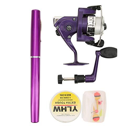 WGYDREAM Canna da Pesca Fishing Rod Pole Portable Mini Lightweight Pen Shape Plan Multifunzione Pocket Pole da Pesca con Bobina per Viaggi Pesca d'Acqua Dolce Acqua Salata - Viola