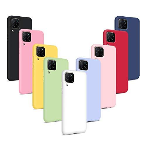 9X Funda para Huawei P40 Lite, Carcasas Flexible Suave TPU Silicona Ultra Delgado Protección Caso(Rojo + Rosa Claro + Púrpura + Amarillo + Rosa Oscuro + Verde + Negro + Azul Oscuro)