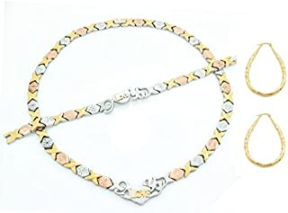 3 Tone I LOVE YOU Hugs & Kisses Necklace Bracelet Earrings Set Oval Hoops XOXO 20 inches