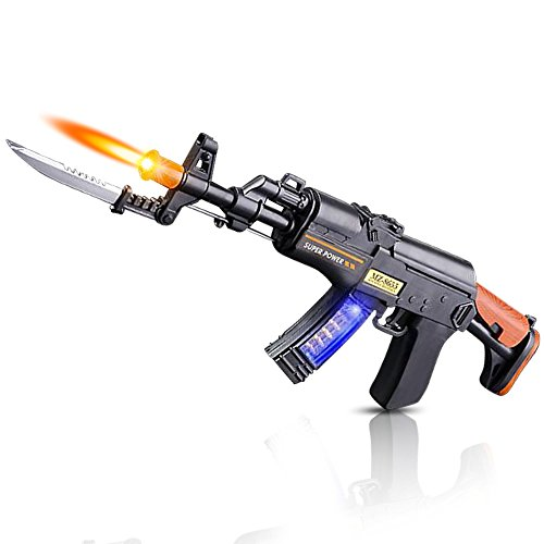 ArtCreativity Light Up Toy Machine Gun with Folding Bayonet, Cool LED, Sound and Vibration Effect, 16 Inch Pretend Play Military Submachine Pistol, Great Gift for Boys and Girls