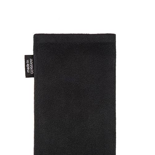 fitBAG Classic Schwarz Handytasche Tasche aus original Alcantara mit Microfaserinnenfutter für Huawei Ascend D Quad/D Q   Hülle mit Reinigungsfunktion   Made in Germany - 5