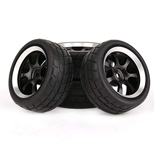 Mxfans Black Rubber Tires and 7-Spoke Aluminum Wheel Rims for RC 1:10 On-Road Racing Car Pack of 4