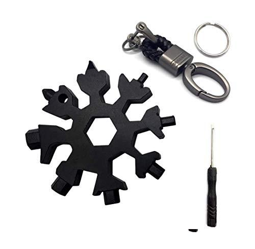 Flocon de neige multi-outils, en acier inoxydable, anneau hexagonal, gadgets portables, cadeaux secrets de Père Noël pour homme, vélo, voyage, camping, aventure 18 en 1 (Noir)