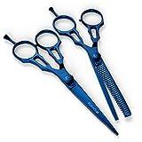 BS- 3102 Suvorna 5.5 'Professional Barber bleu titane revtu Cheveux lame de rasoir de cisaillement et de fluidification par cisaillement / Set ciseaux ( 2 Pcs )