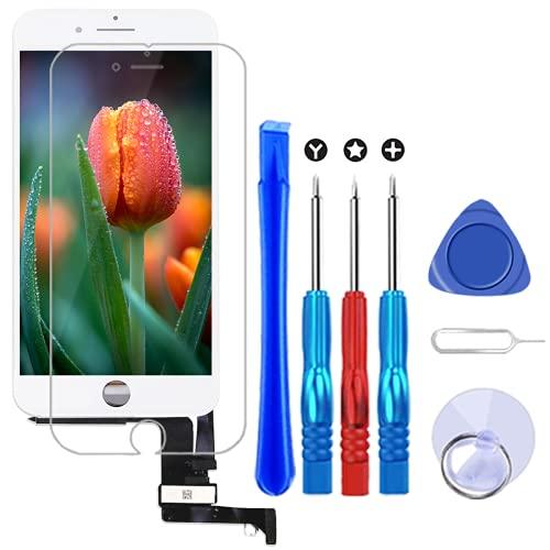 Brinonac Pantalla para iPhone 8, 4.7' Táctil LCD de Repuesto Ensamblaje de Marco Digitalizador con Herramienta de reparación y Protector de Pantalla (Blanco)