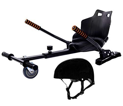 Securia Pro Sitzscooter MK001 Kart Sitz Erweiterung für 6, 5-10 Zoll Self Balance Scooter + Sommerhelm Für Kinder (Schwarzer Helm)