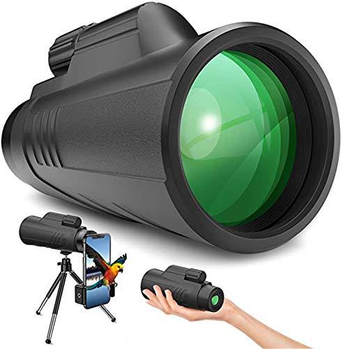 AQWESD Telescopio monocular Compacto de Alta Potencia HD BAK4 Monoculares Impermeables Telescopio monocular 12x42 con trípode para observación de Aves en teléfonos móviles -