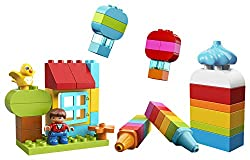 Build almost anything with 120 LEGO DUPLO building blocks for toddlers in a rainbow of colours Includes a child figure and decorated building bricks to inspire creativity for kids Follow the instructions to build a castle, boat, apple or a toy parrot...