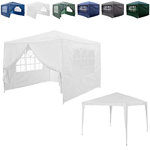 AutoBaBa 3mx3m Garden Gazebo Marquee Tent for All Seasons, with 4 Side Panels, Waterproof Rainproof, Powder Coated Steel Frame for Outdoor Wedding Garden Party Camping, White