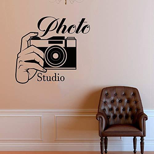 BFMBCH Photo Studio Logo Etiqueta de la pared Foto Cámara Vinilo Fotografía Ventana Mural Inicio Cámara Decoración Pegatinas de pared A3 56x61cm
