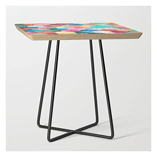 Side Table - Black - Square - Crystal Bohemian Honeycomb Cubes - Colorful Hexagon Pattern by Mickly