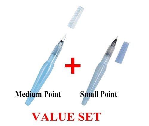Pentel - Aquash Water Brush Medium Point & Small Point 2 Pens Profesional Arts Value Set