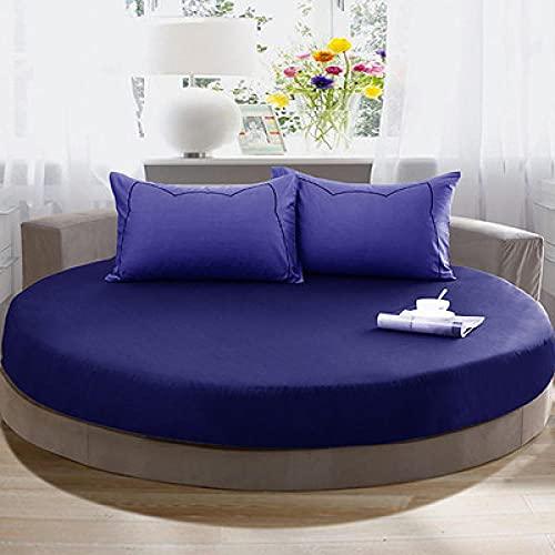 DSman Protector de colchón Acolchado - Microfibra - Funda para colchon estira hasta Funda de Cama Redonda de algodón Puro-Azul Real_2.2m