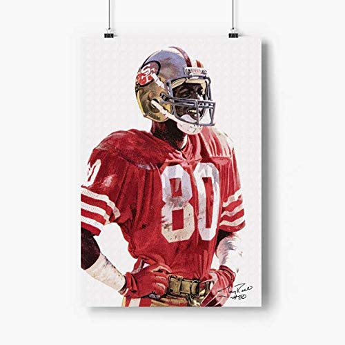 Venus Store Jerry Rice Poster Artwork N.1105 - No Frame - San Francisco Football Player Poster Paper, American Football Wall Art, Gift for Football USA Lovers, Gift for Husband, Son, Grandson