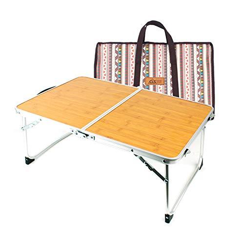 Camping Tavolo Pieghevole Leggero Beach Borsa Pesante Portatile da Tavolo in Alluminio con Carry Bag Outdoor Barbecue Viaggiare Bamboo Laptop Desk,A