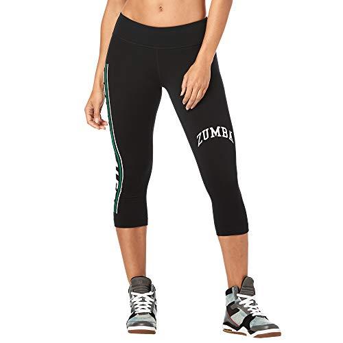 Preisvergleich Produktbild Zumba Fitness Damen Dance Workout Capri Pants Athletic Compression Leggings,  Basic Bold Black,  Medium