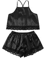SweatyRocks Women's Satin Lace Sleepwear Spaghetti Strap Top and Shorts Pajama Set Black M
