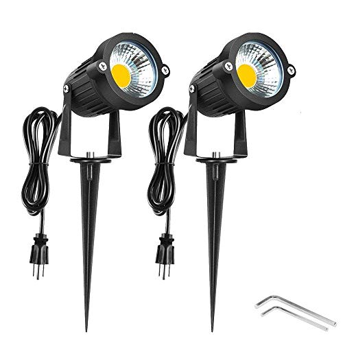 Onerbuy Bright Outdoor LED Landscape Lighting 5W COB Garden Wall Yard Path Lawn Light Lamp with Spiked Stand and Power Plug, Pack of 2 (Warm White)