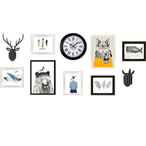 Jjek fotolijst foto muur en ruw een DIY foto muur Elk hoofd houten moderne stijl geschikte achtergrond muur klok woonkamer muur decoratie hout fotolijst combinatie