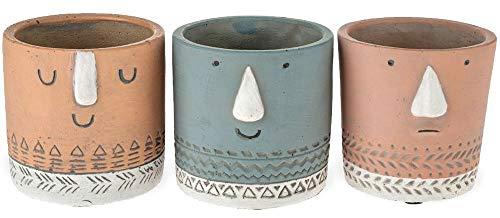 matches21 Plantenpotten gezicht & decor bloempotten decoratieve potten cement beton - set van 3 in 3 kleuren - 2 maten 8,5 cm.