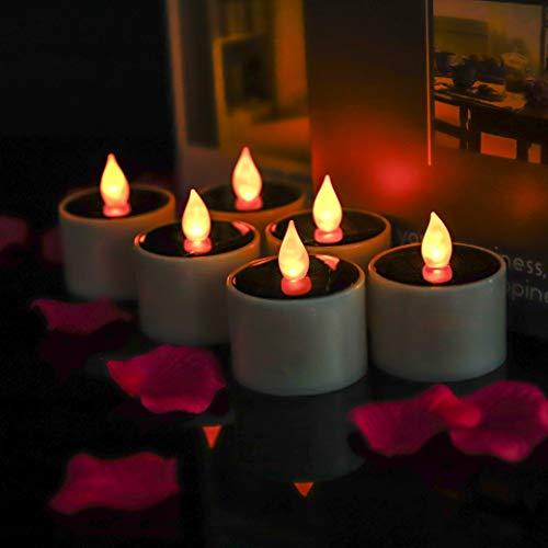 Solarbetriebene LED Kerze, HanSemay 6 Stück flammenlose warme weiße LED Teelicht für Festival Dekoration, Geburtstag, Partys und Weihnachten