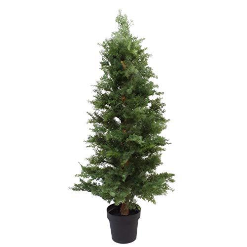 Leaf Cedar 7506-7505-7504-7503-7502-7501 Künstlicher Zypressen-Formschnitt-Baum, UV-geschützt, Kunststoff, Zedernholz extra buschig, 130 cm
