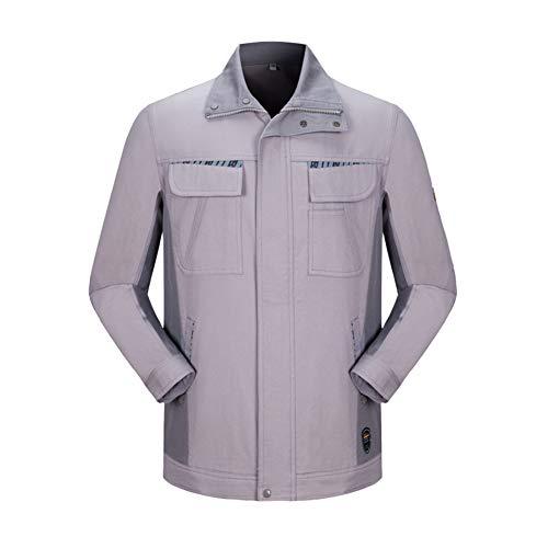 YJKJ Chaqueta de trabajo, chaqueta de soldadura de algodón, gran bolsillo de algodón, resistencia a la fricción soldador, fábrica, construcción, reparación de coches, XXL