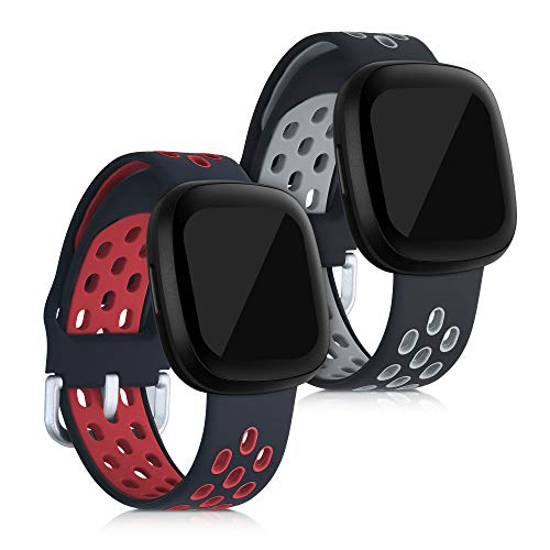 kwmobile Armband kompatibel mit Fitbit Versa 3 / Sense - 2X Silikon Fitnesstracker Sportarmband