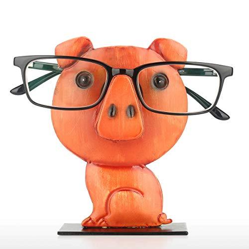Tooarts- Soporte de Gafas para Gafas con Forma de Cerdo Color Negro y Naranja Sostenedor de Anteojos de Animal Escultura de Hierro Decoración Cumpleaños, Aniversario, Navidad